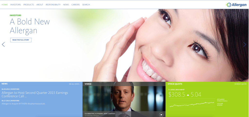 Allergan home page